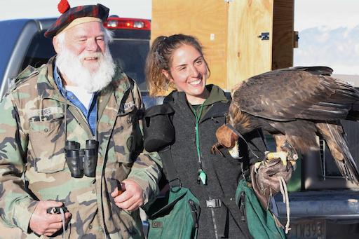 Lauren McGough and Jack Oar with eagle with Larry Ray hood